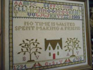 cross stitch sampler friend LOVELY rustic primitive brown framed