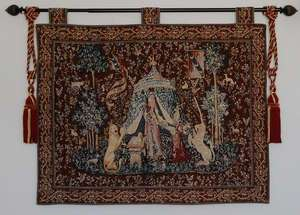 UNICORN MEDIEVAL WALL HANGING TAPESTRY FREE TASSELS