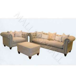 Grey Limed Oak & Natural Tufted Linen Chesterfield Sofa