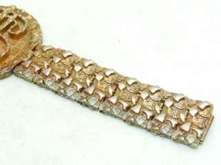 Chunky Dollar Sign Bling Silver Gold Tone Bracelet
