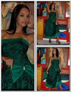 Vintage 80s Black Kelly Green Party Cocktail Dress