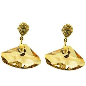 Gold Swarovski Crystal Yellow Gravels Earrings Jewelry