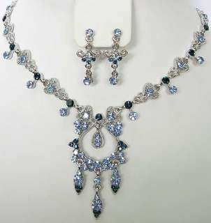n310 Blue Swarovski Crystal Necklace Earrings Set