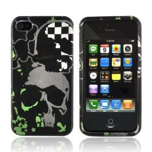 iPhone 4 Hard Case Cover GREEN GRAY SKULLS Cell Phones & Accessories
