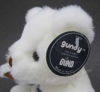 Vtg 1984 GUND Ltd Edition GUNDY Plush White Teddy Bear TAGS Stuffed