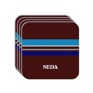 Personal Name Gift   NEDA Set of 4 Mini Mousepad Coasters (blue