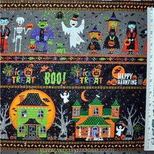HALF YARD Halloween GLITTER Landscape Trick or Treat SPARKLE Fabric 1