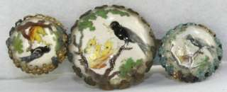 VINTAGE 1930S REVERSE PAINTING PAINT UNDER GLASS BIRD NEST FEEDING