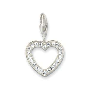 Open Heart Charm   White CZ & Sterling Silver Arts