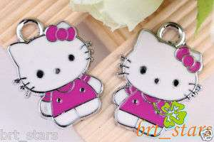 Tibetan silver Mix color hello kitty cat Pendants Charms 24*18mm TS103