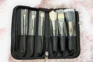 New 7 pcs Hello Kitty Makeup Brush Set Kit and Black Faux Leather Case