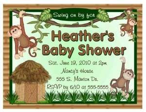 20 MONKEY JUNGLE BABY SHOWER INVITATIONS