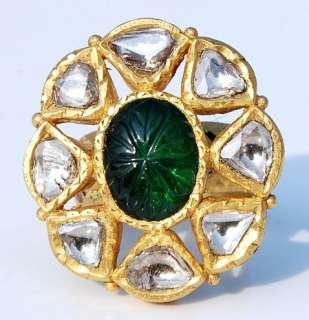 ESTATE 22KT SOLID GOLD 6CT EMERALD DIAMOND MOGHUL RING |