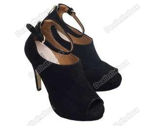 Women Vogue Platform Pumps High Heels Ankle Boots Shoes Black
