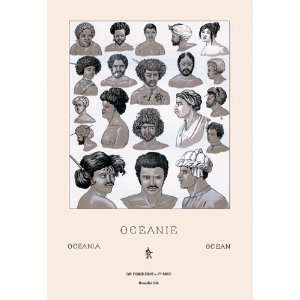 Headdresses and Hairstyles of Oceania 16X24 Canvas Giclee