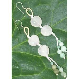 Rose Quartz Double Hearts & Colorful Jade Beads Earrings Made