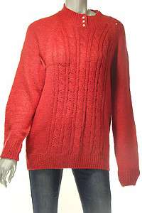 Karen Scott Misses M Sweater Red Pull Over Pearl Button Crossed Cable