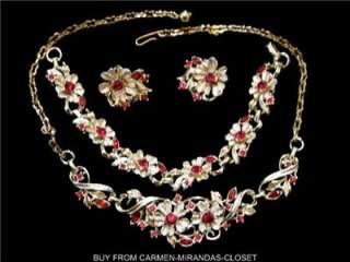 Vtg NECKLACE & BRACELET & EARRINGS SET RUBY RED RHINESTONES DESIGNER