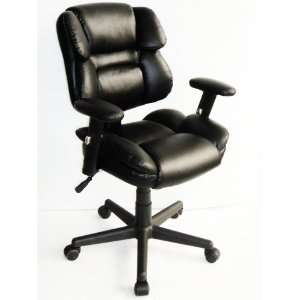 FURINNO Hidup Leather Mid Back Executive Chair, Black, WA
