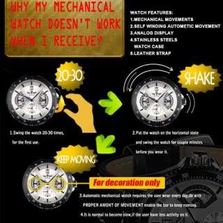 New Automatic Wrist Leather Mechanical Mens Watch Fashion