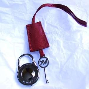 New Michael Kors Large Silver MK Lock & Key with Red Leather Strap for