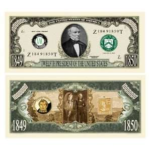 SET OF 5 BILLS ZACHARY TAYLOR MILLION DOLLAR BILL Toys & Games