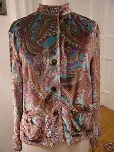 NWT itsu Velvet Paisley Shirt Jacket, Size 6