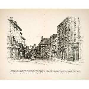 1950 Print Shrewsbury England Wyle Cop Street Scene Road