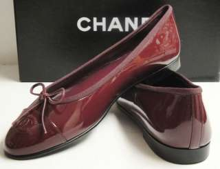 CHANEL Classic CC Logo Patent Leather Plum Ballet Flats Shoes 37