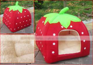 strewberry pet / cat /dog house bed + Removable Cushion Hpe