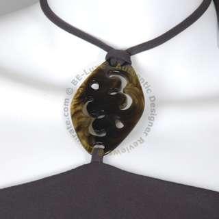 BCBG MAX AZRIA Brown Strapless Halter Exotic Stone Necklace Dress