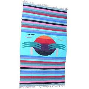 Beach Scene Mexican Blanket throw rug tapestry