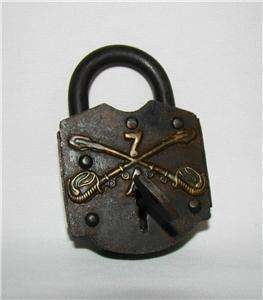 Indian Wars Era Cast Iron & Brass LOCK w KEY 7th Calvary, Company A