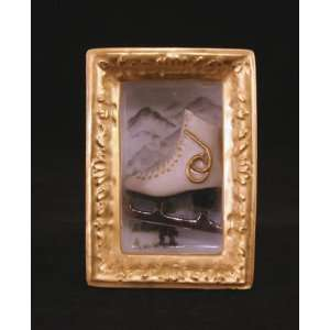 Ice Skate in Frame with Winter Scene French Limoges Box