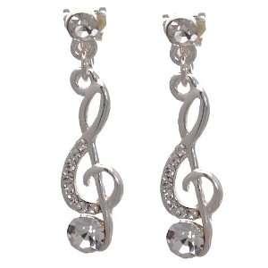 Rhapsody Silver Crystal Treble Clef Clip On Earrings