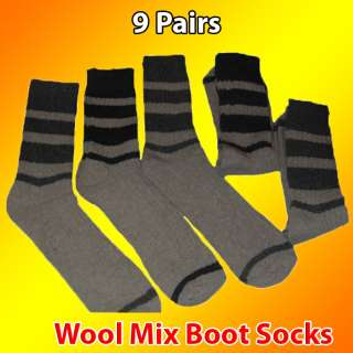 10 Pairs Mens Bigfoot Wool Mixed Boot Socks Bargain