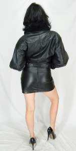 VTG Fur Puffy WORN Faded BLACK Leather FLIGHT MOTORCYCLE Cropped