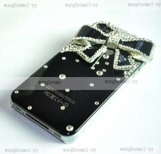 Diamond Crystal Bowknot Hard Case Cover Skin For iPhone 4 4G 4S Black