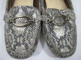 ANNE KLEIN Gold Metallic Leather Snakeskin Loafers 6 M