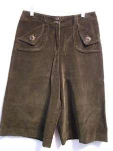 Size 8 100% Cotton Corduroy Dark Olive Green Winter Long Shorts