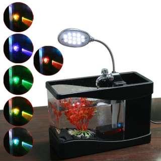 USB Fish Tank Colorful LED Aquarium Desktop Lamp Light Black