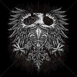 GOTHIC EAGLE FLEUR DE LIS T SHIRT BIKER HARLEY BLACK