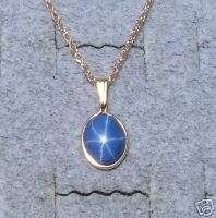 10X8MM BLUE LINDE STAR SAPPHIRE CREATED GF PENDANT CHAN