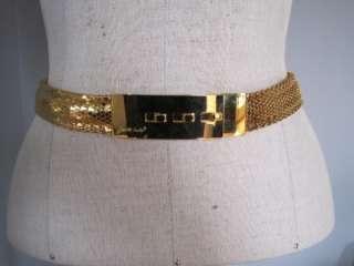 Vintage JUDITH LIEBER Gold Toned Metal Snake Skin Belt, size S