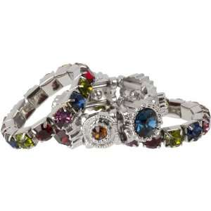 Jewel Tone Multi Color Crystal Stacking Stretch Ring Trio