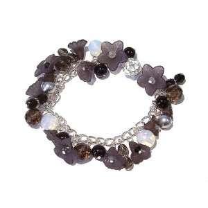 The Black Cat Jewellery Store Black & Grey Lucite Flower