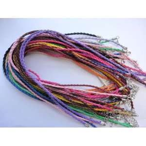 Mixcolor Braided Leather Necklace Cord 18 W/extender ~Jewelry Making
