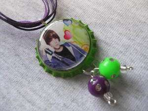 Justin Bieber Bottle Cap Necklace or Cell Phone Charm   Style JB03