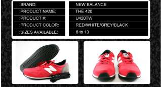 U420TW] NEW BALANCE THE 420 CLASSIC RED/WHITE/GRAY/BLACK MENS SZ. 8