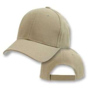Khaki Tan Plain Adjustable Velcro Baseball Cap Hat Sports